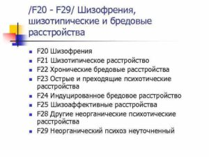 Изменения степени ОСТД. Диагноз Шизофрения F20